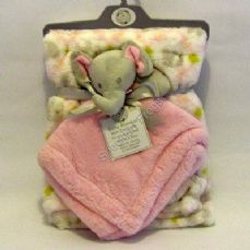 Baby Comforter and Blanket Gift Set. Pink elephant